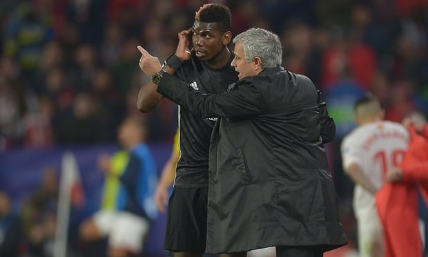 Jose Mourinho instructs Paul Pogba before he comes on for Ander Herrera. Photograph: Aitor Alcalde/Getty Images